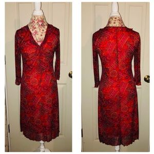 Forever 21 Red Paisley Gypsy Boho Dress Jrs L